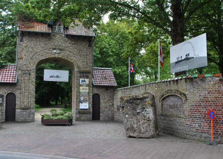 The entrance to the Memorial Museum Passchendaele 1917. The concrete block in the front is a World War I one-man pillbox.