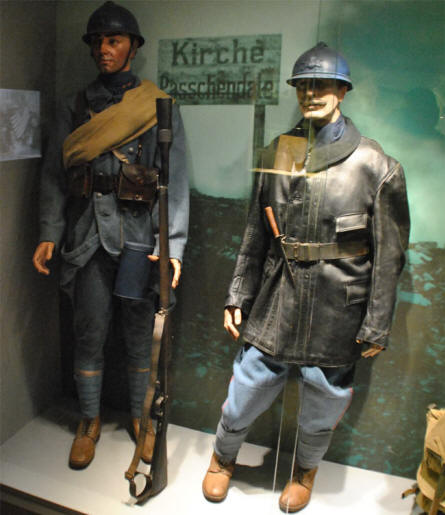 French World War I uniforms displayed at the Memorial Museum Passchendaele 1917.