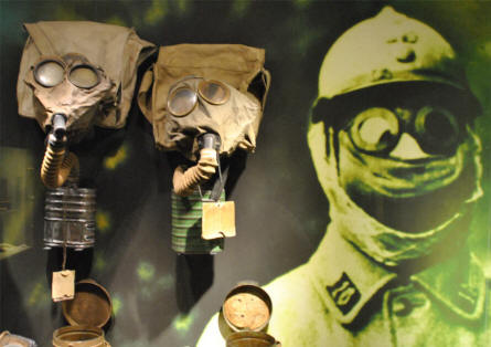 Some of the World War I gas masks displayed at the Memorial Museum Passchendaele 1917.