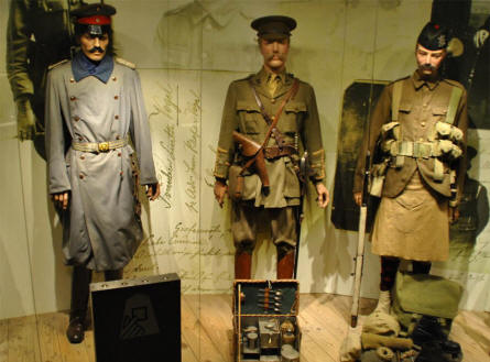 German and British World War I uniforms displayed at the Memorial Museum Passchendaele 1917.