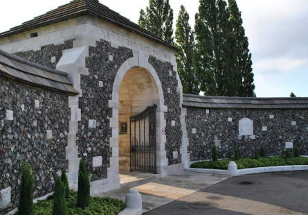 The entrance to the Tyne Cot War Cemetery near Zonnebeke.