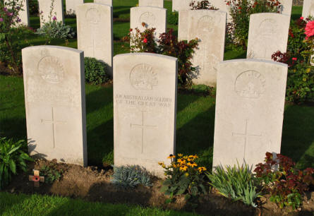 Some of the many Australian graves at the Tyne Cot War Cemetery near Zonnebeke.