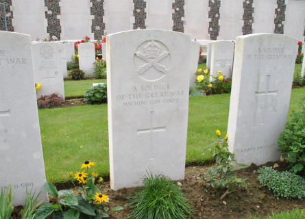 "The grave of ""A soldier of the Great War - Machine Gun Corps"" at the Tyne Cot War Cemetery near Zonnebeke."