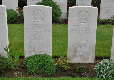 The graves of two Australian Second Lieutenant's (K. M. Day & J. F. Adams) at the Tyne Cot War Cemetery near Zonnebeke. They were both killed on the 12th of October 1917.
