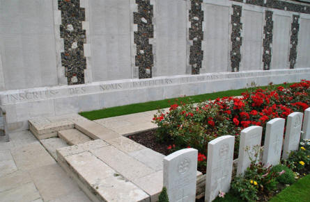 A small section of the memorial wall at the Tyne Cot War Cemetery near Zonnebeke. The wall contains thousands of names.