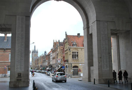 "The Menin Gate Memorial (to the Missing) in Ypres seen from the ""inside"" facing towards the central square of Ypres. Notice that names are engraved almost everywhere."