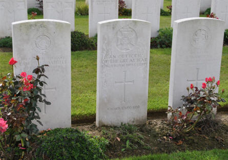 "The grave of ""An Officer of the Great War"" at the Zantvoorde British Cemetery in Zonnebeke - Ypres."
