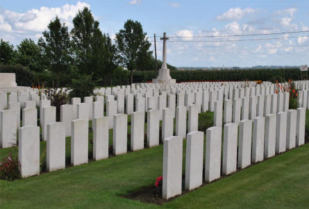 Some of the many graves at the Zantvoorde British Cemetery in Zonnebeke - Ypres.