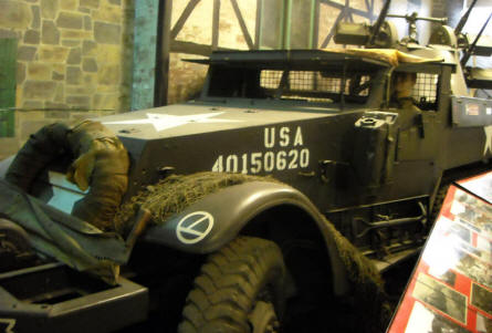 An American half-tracked vehicle displayed at the Museum of the Battle of the Ardennes in La Roche-en-Ardenne.