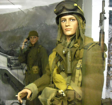 American World War II soldiers displayed in a full-size diorama at the Museum of the Battle of the Ardennes in La Roche-en-Ardenne.