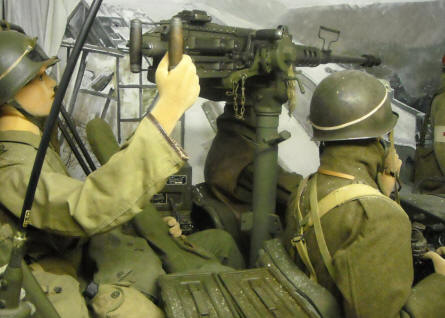 American World War II soldiers with a heavy machinegun displayed in a full-size diorama at the Museum of the Battle of the Ardennes in La Roche-en-Ardenne.