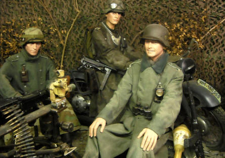 German World War II soldiers and equipment - displayed in a full-size diorama at the Museum of the Battle of the Ardennes in La Roche-en-Ardenne.
