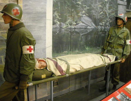 American World War II medics displayed in a full-size diorama at the Museum of the Battle of the Ardennes in La Roche-en-Ardenne.