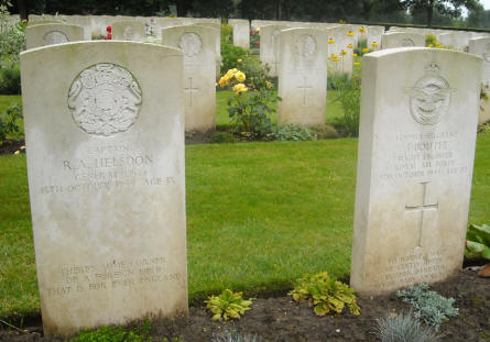 The graves of Captain R.A. Helsdon and Sergeant J. Boutle at the Hotton War Cemetery in Hotton.
