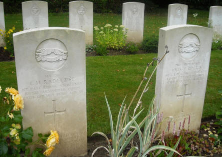 The graves of Major G. M. Radcliffe and Lieutenant John F. Cockin at the Hotton War Cemetery in Hotton.