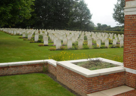 The right-hand section of graves at the Hotton War Cemetery in Hotton.