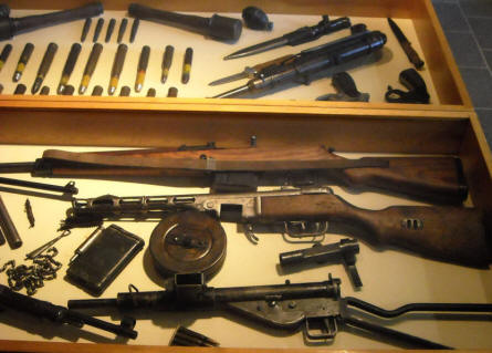 Some of the many World War II weapons displayed at the December 1944 Museum in La Gleize.