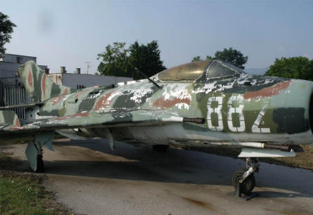 An early MIG jet fighter displayed at the Museum of Aviation in Plovdiv.