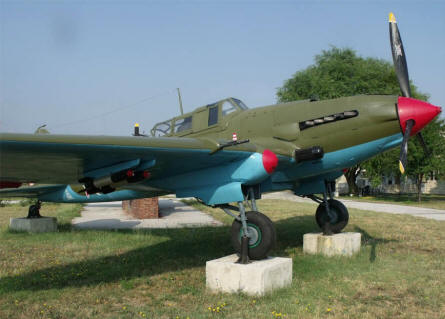 A World War II IL-2 Sturmovik attack aircraft displayed at the Museum of Aviation in Plovdiv.