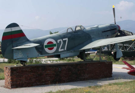 A World War II Russian YAK-9 fighter displayed at the Museum of Aviation in Plovdiv.