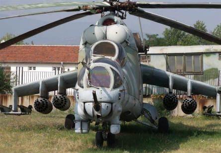 "A ""Cold War"" Russian built Mi-24 Hind attack helicopter displayed at the Museum of Aviation in Plovdiv."