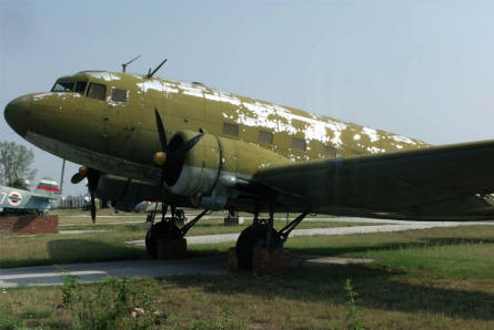 A World War II Li-2 (Russian built DC-3) displayed at the Museum of Aviation in Plovdiv.