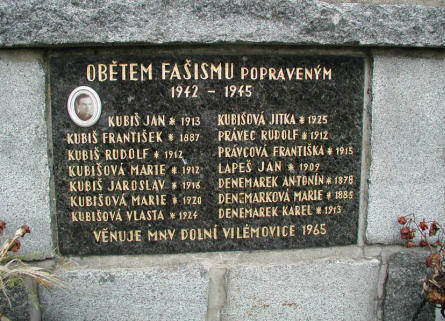 The cenotaph/memorial dedicated to Jan Kubiš  family on the village square in Dolní Vilémovice.