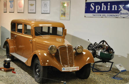 A classic Tatra automobile displayed at the Technical Museum Tatra.