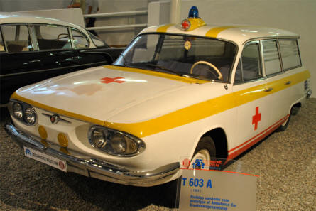A classic Tatra T 603 A ambulance displayed at the Technical Museum Tatra.