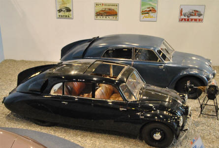 Two 1930's classic Tatra 87 automobiles - with a very futuristic design - displayed at the Technical Museum Tatra.