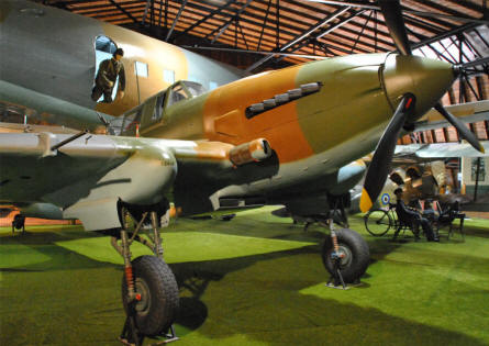 A Russian built World War II Ilyushin IL-2 Sturmovik displayed at the Aviation museum Kbely in Prague.