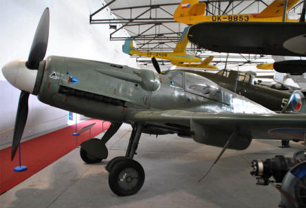 An Avia S-199 (Czech version of the German World War II Messerschmidt Bf-109G) displayed at the Aviation museum Kbely in Prague.