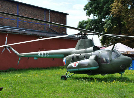 A vintage Mil Mi-1helicopter displayed at the Aviation museum Kbely in Prague.