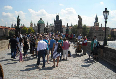 There are almost always many people on the Charles Bridge in Prague.
