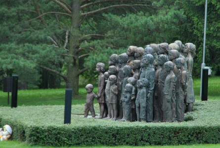 The statue of the 82 children that were killed as a part of the massacre in Lidice is one of the very telling memorials at the Lidice Memorial.