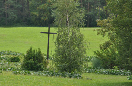 A wooden cross at the Lidice Memorial.