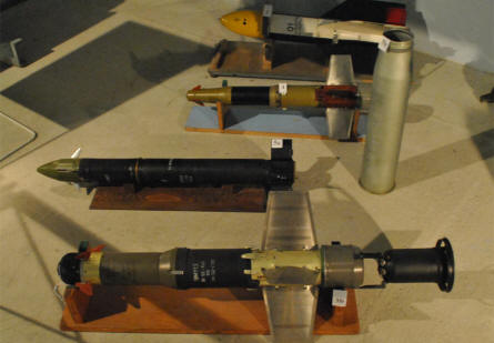 Some of the anti-tank weapons displayed at the Military Technical Museum in Lešany.