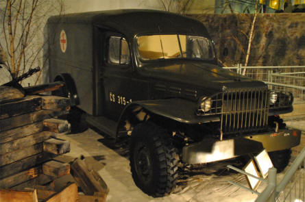 A World War II military ambulance displayed at the Military Technical Museum in Lesany.