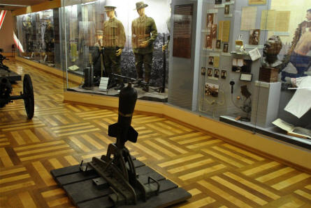 Some of the uniforms and other military equipment displayed at the Army museum in Prague.