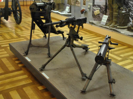 Vintage machine guns displayed at the Army Museum in Pague.