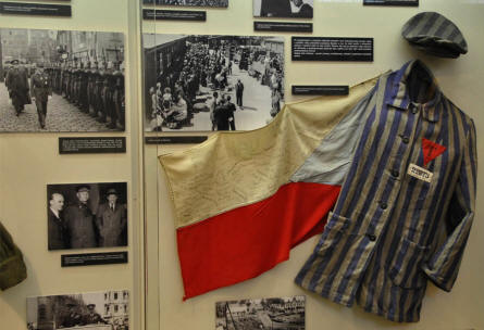 "A concentration camp ""uniform"" displayed at the Army Museum in Pague."