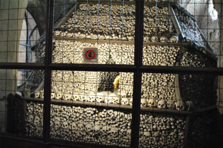 One of the four big piles of human bones at the Kutna Hora Bone Church.
