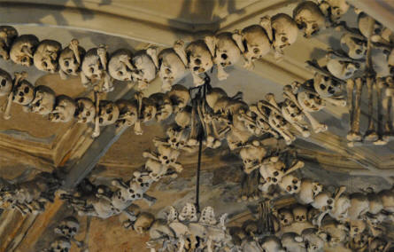 Some of the decorations at the ceiling of the Kutna Hora Bone Church.