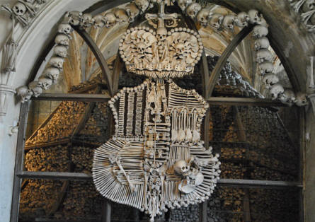 The coat-of arms of the Schwarzenberg noble family - made with human bones - at the Kutna Hora Bone Church.