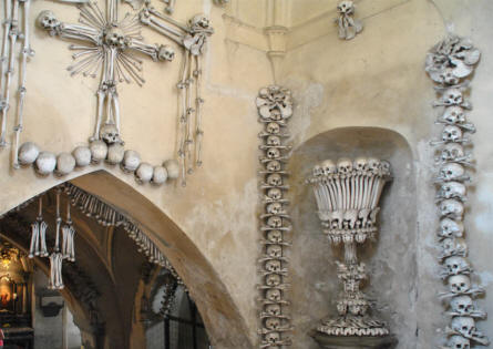 Some of the decorations at the Kutna Hora Bone Church.
