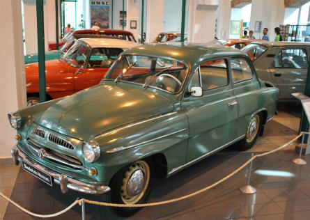 A Classic Skoda displayed at the Skoda Auto Museum in Mlada Boleslav.