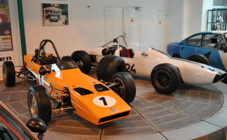 Classic Skoda race cars displayed at the Skoda Auto Museum in Mlada Boleslav.