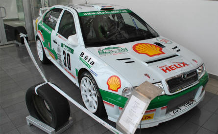 A modern Skoda Octavia rally car displayed at the Skoda Auto Museum in Mlada Boleslav.