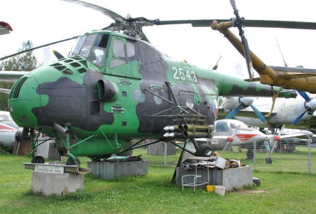 A Russian built Mil Mi-4 Hound helicopter displayed at the Air Park of Zruč - Plzen.