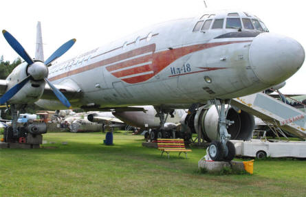 A Russian built Ilyushin Il-18 airliner displayed at the Air Park of Zruč - Plzen.